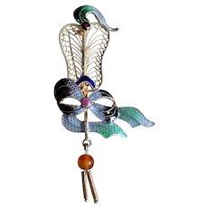Vintage Chinese Export Sterling Silver Enamel Filigree Fan Ribbon Brooch