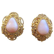 Chinese Export Gold Vermeil Sterling Silver Shou Filigree Peruvian Opal Earrings