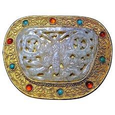 Vintage Chinese Export White Jade Gold Gilt Filigree Turquoise Carnelian Box