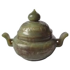 Chinese Green Jade Censor Jar With Lid Hand Carved Relief Design