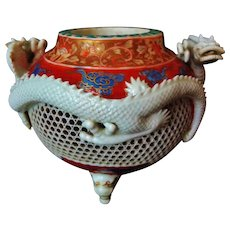 Antique 1868-1912 Meiji Japanese Hirado Fukaguawa Porcelain Koro Incense Burner