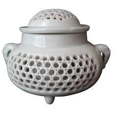 Antique Hirado Japanese Meiji Period Reticulated Porcelain Koro Incense Burner