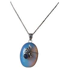 Vintage Rainbow Opaline Sterling Silver Pegasus Pendant