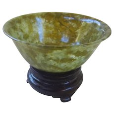 Vintage 1950's Chinese Translucent Green Spinach Jade Bowl With Stand