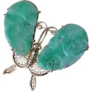 Vintage 1900's Large Carved Apple Green Jade Gold Vermeil Butterfly Brooch Pin