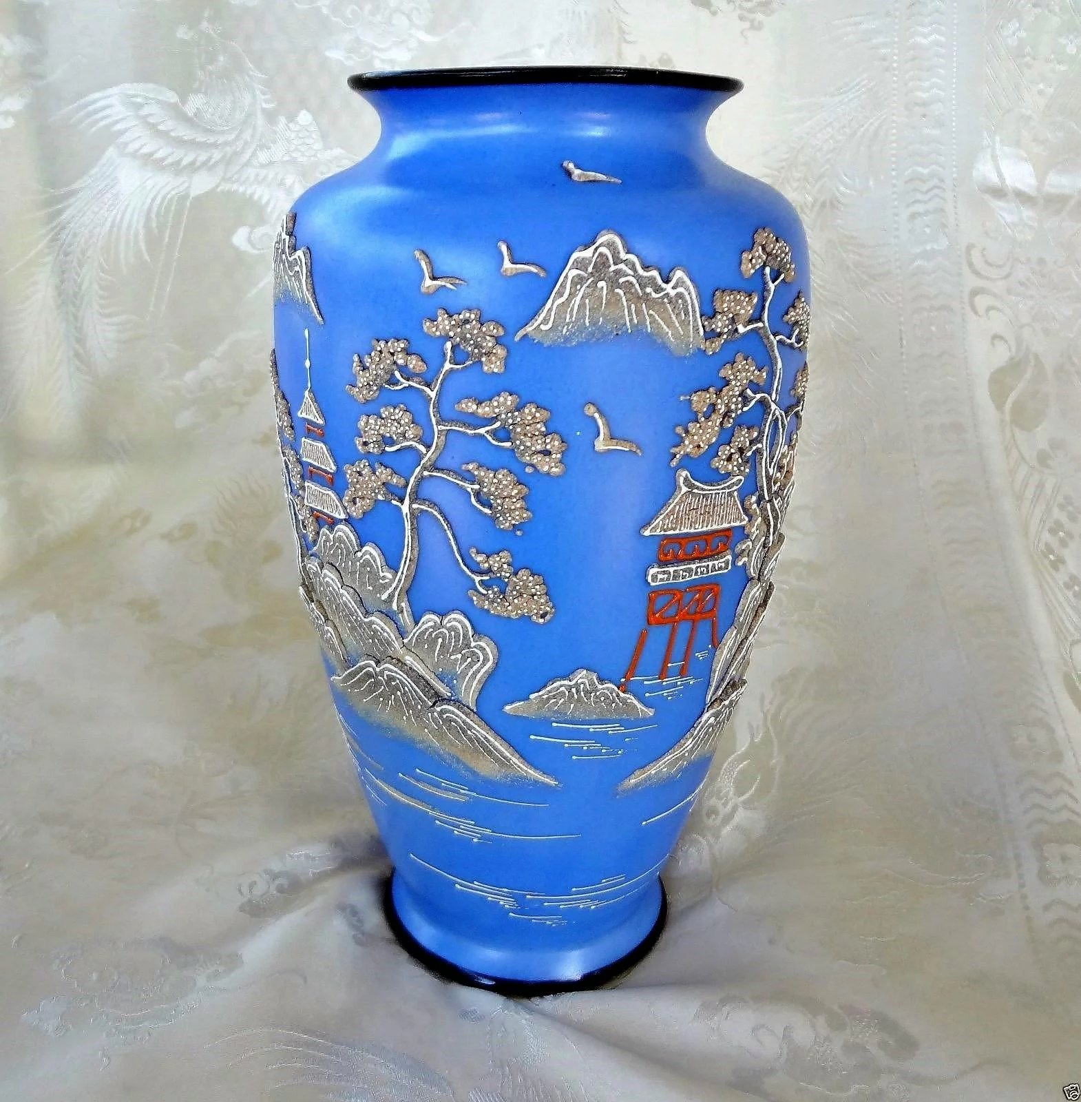 Vintage 1920 S Japanese Wedgewood Blue Porcelain Moriage Vase Large 9 Fine Finds Ruby Lane