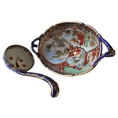 Antique Japanese Kutani Hand Painted Soup Tureen And Soup Spoon