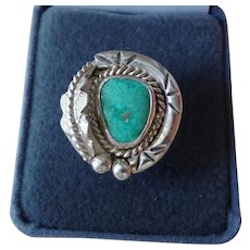 Vintage Ornate Turquoise Sterling Silver Ring With Feather