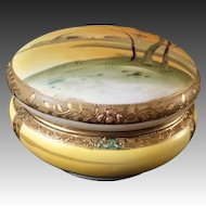Antique 1890's Japanese Nippon Hand Painted Large Porcelain Dresser Box With Lid