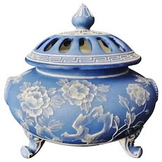 Rare Large Nippon Wedgwood Moriage Incense Burner or Potpourri Jar with Lid