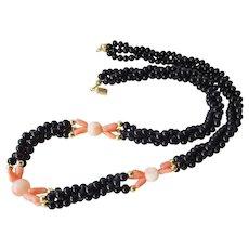Vintage 3 Strand Angel Skin Coral Onyx 14k Necklace