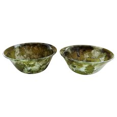 Vintage Chinese Export Set Of Translucent Green Jade Bowls Cups