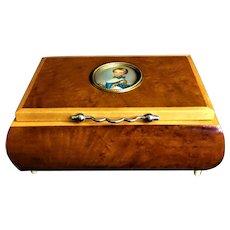 Vintage 1970's Italian Miniature Portrait Artist Signed Music Box Plays Isle Of Capri