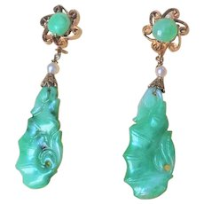 Antique 1850-1899 Qing Dynasty Chinese Export Apple Green Jadeite Gold Gilt Earrings