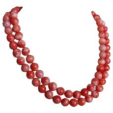 Red Momo Coral Double Strand Necklace 9 mm Beads 134.4 grams