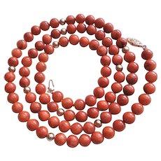 "Vintage 1900's Dark Russet Red Jadeite Jade 14k Gold Necklace 32"" Opera Length"
