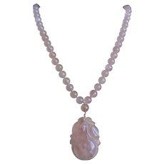 Vintage Chinese Carved Translucent Pink Rose Quartz Necklace Pendant