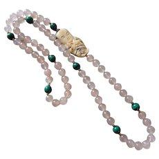 Vintage Rose Quartz Malachite Netsuke Necklace