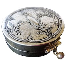 Art Deco 1920's Sterling Silver Repousse Rouge And Powder Compact