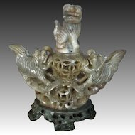 Antique Chinese Qing Hand Carved Soapstone Foo Dogs Incense Burner Artist Signed