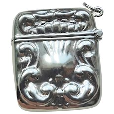 Sterling Silver Repousse Match Safe Pendant