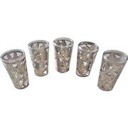 Vintage Sterling Silver Overlay Tequila Shot Cordial Glasses Set Of 5
