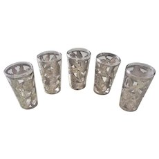 Vintage Sterling Silver Overlay Tequila Shot Cordial Glasses Set Of 5