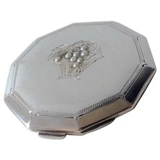 Vintage 950 Sterling Silver Gold Overlay Seed Pearls Powder Compact