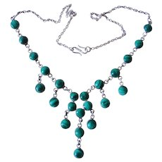 Vintage Mexico Taxco Malachite Sterling Silver Necklace