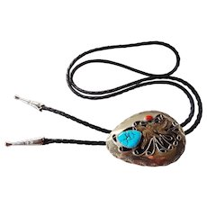 Vintage Sterling Silver Bolo Turquoise Coral Two Ducks With Black Leather