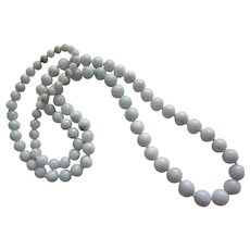 Vintage Chinese 1970's White Green Jadeite Graduating Necklace 35 Inches Length