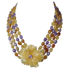 Vintage Chinese Four Strand Yellow Jade Amethyst Carnelian Carved Jade Flower Necklace