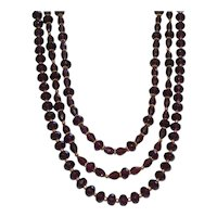Elegant Three Strand Dark Purple Crystal Statement Necklace