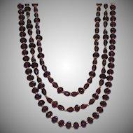 Elegant Three Strand Dark Purple Crystal Statement Necklace