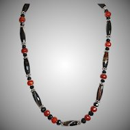 Sophisticated Sardonyx, Carnelian and Black Onyx Necklace with Bali Silver