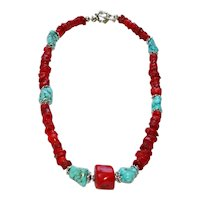 Red Bamboo Coral and Stabilized Turquoise Magnesite with Bali Silver Accents  Necklace