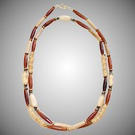 Bohemian Style Bone,  Horn and Pyrite with Brass Necklace