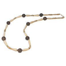 Ethnic Style Bone and Bronzite with Brass Necklace