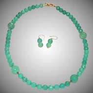Faceted Spring Green Stone Necklace and Earrings with Vermeil