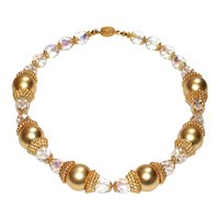 Bold Vintage Gold and Crystal Designer Necklace
