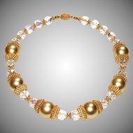Bold Vintage Gold and Crystal Designer Necklace