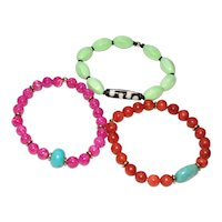 Bracelets of Orange Sponge Coral,  Lime Green Magnesite and Pink Fossil Stone