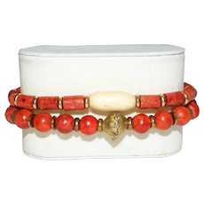 Pair of Ethnic Style Bracelets with Sponge Coral, African Brass and Natural Bone.