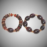 Pair of African and Indonesian Woods and Horn Bracelets.