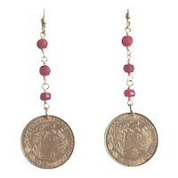Mexican Cinco Centavos Golden Coins with Rubies (dyed) Earrings