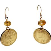 Portuguese 5 Escudos Coin Earrings with Citrine