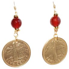 Beautiful Barbados Five Cents Coin with Carnelian Earrings