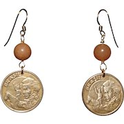 Brazilian 10 Centavos Earrings with Red Aventurine