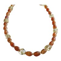 Gorgeous German Faceted Lemon Quartz and Carnelian Necklace