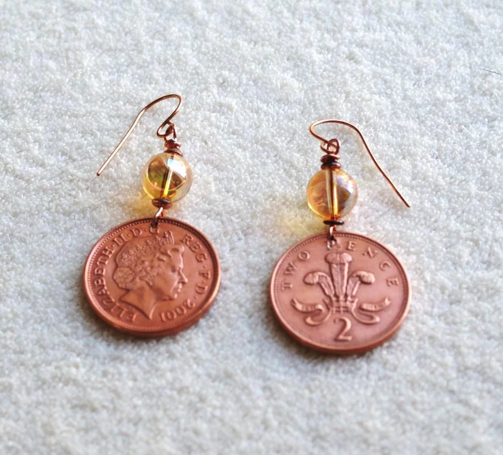 British Two Pence Coin Earrings with Swarovski Golden ...